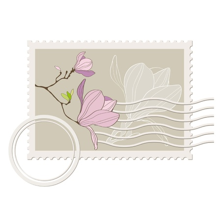 vector blank post stamp with magnolia . Vintage style  Illustration