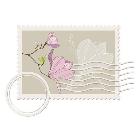 postmark: Vektor leere Poststempel mit Magnolie. Vintage-Stil