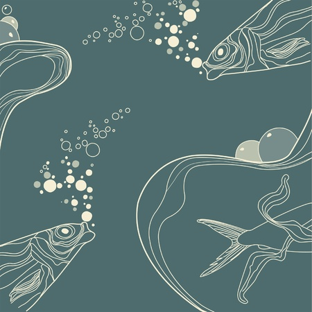 vintage fish and wive ornamental stripes on retro background Stock Vector - 10452562