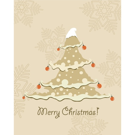 Vintage Christmas Card . Beautiful Christmas tree illustration  Vector