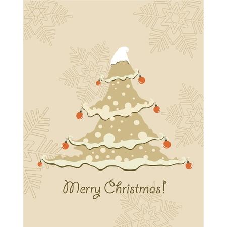 Vintage Christmas Card . Beautiful Christmas tree illustration Stock Vector - 10566079