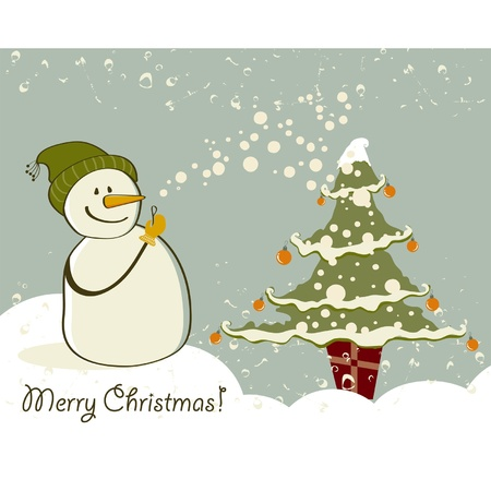 Snowman with gifts beside christmas tree.  Vector