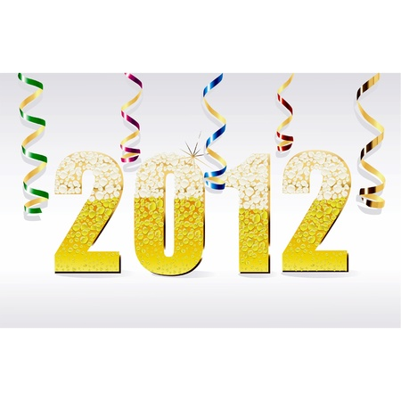 bollicine champagne: Vector carta Capodanno 2012 a base di bollicine di champagne con nastro