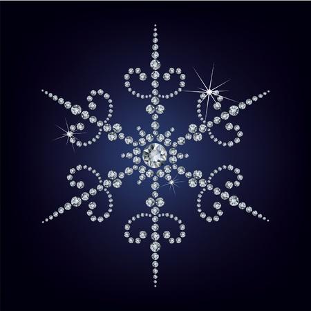 salumi affettati: Fiocco di neve fatto da diamanti. illustrazione vettoriale