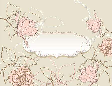 Background with flowers vintage style Vector