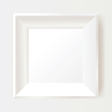 picture frame on wall: White photo frame. Illustration