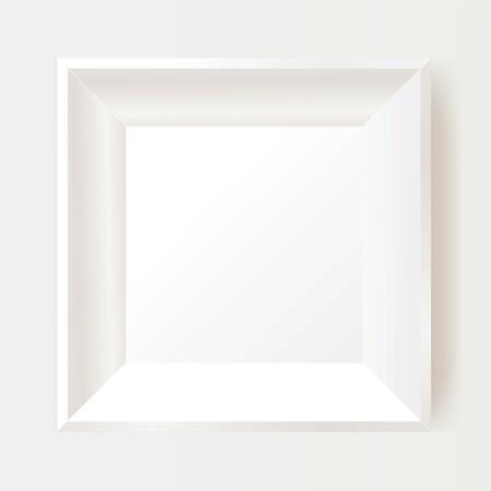 wooden frame: White photo frame. Illustration