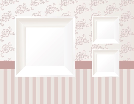 3d empty frame on the wall. Vintage background  Vector