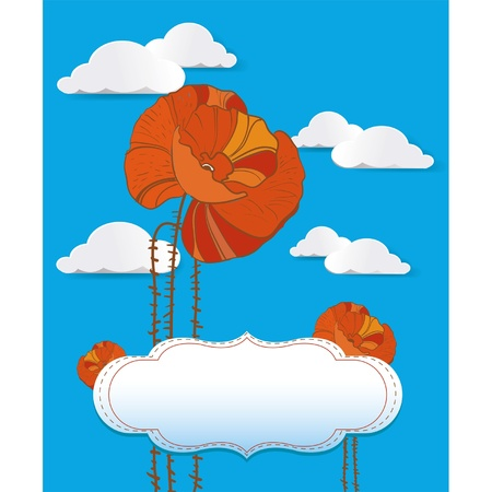 Red poppy card with clouds Vector