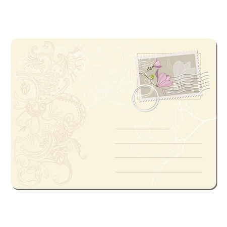 vector blank post stamp with magnolia . Vintage style  Ilustrace