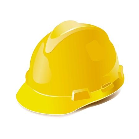 veiligheid bouw: Gele harde hoed op wit wordt geïsoleerd