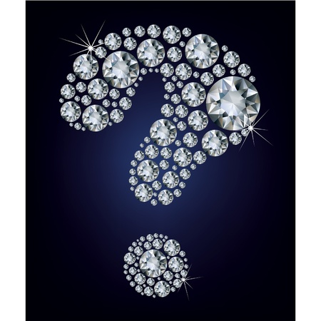 jewelry design: question-mark shape made up a lot diamond on the black background  Illustration