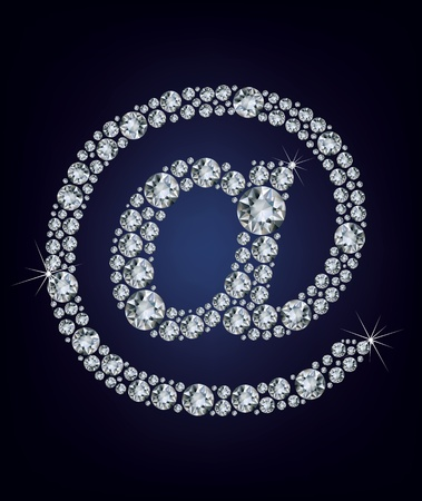 hyperlink: e mail icon made from diamonds Illustration
