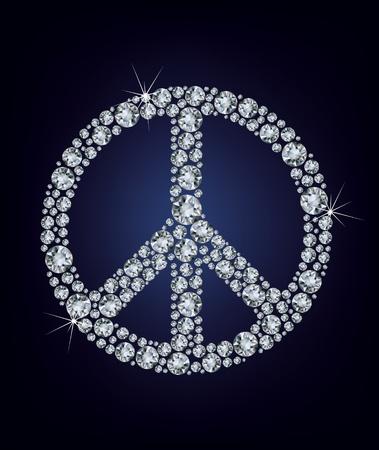 simbolo paz: Ilustraci�n vectorial signo de la paz formada por un mont�n de diamantes