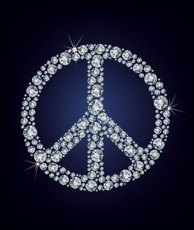 peace label: Vector illustration Peace sign made up a lot of diamonds Illustration
