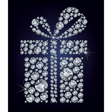 diamond background: illustration of gift present made up a lot of diamonds on the black background