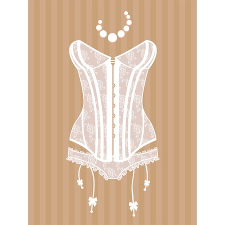 femme en lingerie: corset Vintage Illustration
