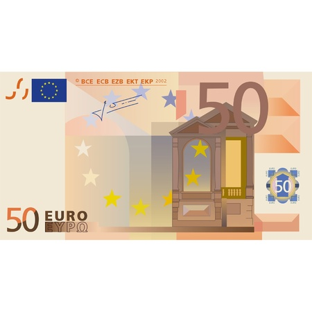 note card: Photo-real vector drawing of a 50 euros banknote  Illustration
