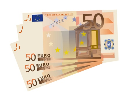 money euro:  vector drawing of a 3x 50 Euro bills (isolated)