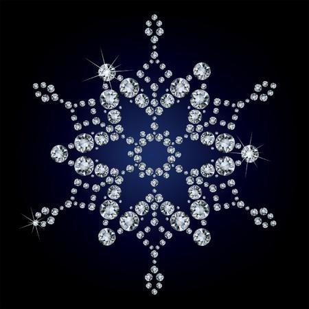 fiambres: Copo de nieve hecha de diamantes. ilustraci�n vectorial Vectores