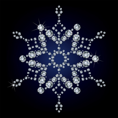 radiant: Snowflake made from diamonds. vector illustration  Illustration