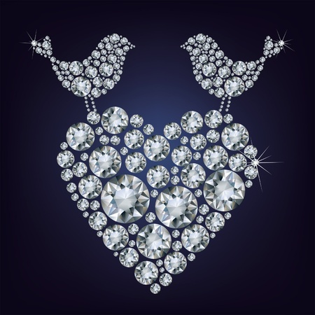 gem: Greeting card with diamond birds for Valentines day  Illustration