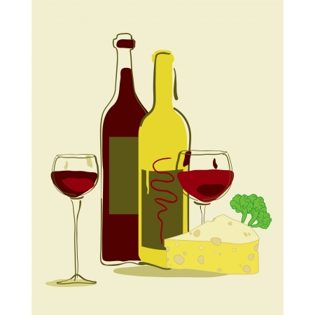 dinner party: Red wine and cheese