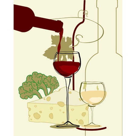 food and wine: Red Wine Band Glass of Wine with cheese Illustration