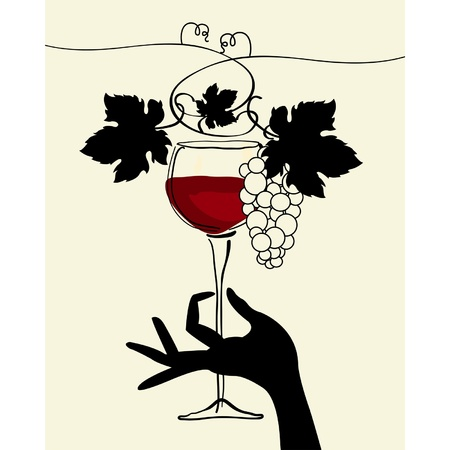 A hand holding a wine glass with grape Illustration