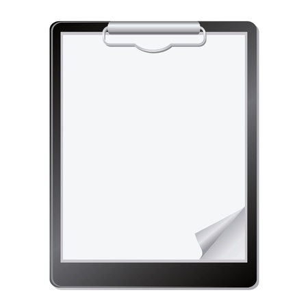 binder clip: Clipboard with paper.