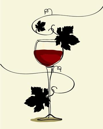 Glas Rotwein mit Trauben Vektorgrafik