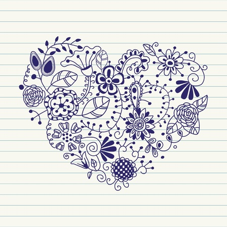 Floral heart. Heart made of flowers.Doodle Heart  Stock Vector - 11979245