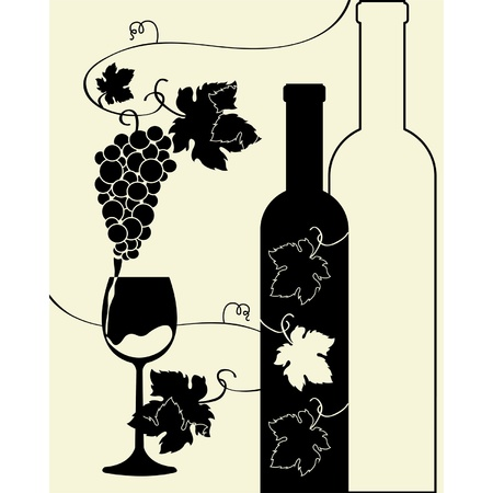 Bottle wine glass grapes Stock Vector - 12025437