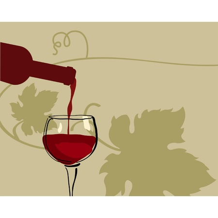 Glass of red wine with grape Stock Vector - 12025438