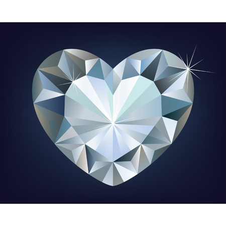 Vector shiny diamond heart  Stock Vector - 12488136