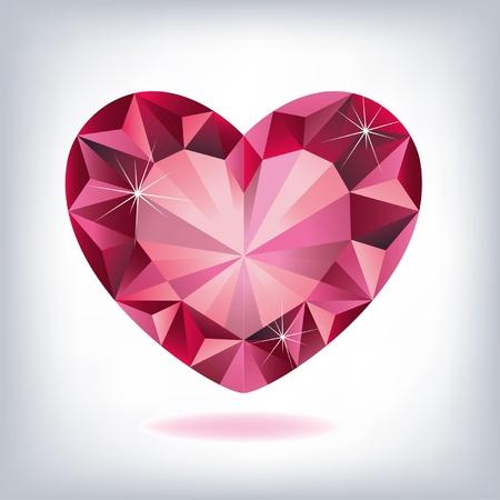 corazon cristal: Rub� en forma de coraz�n Vectores