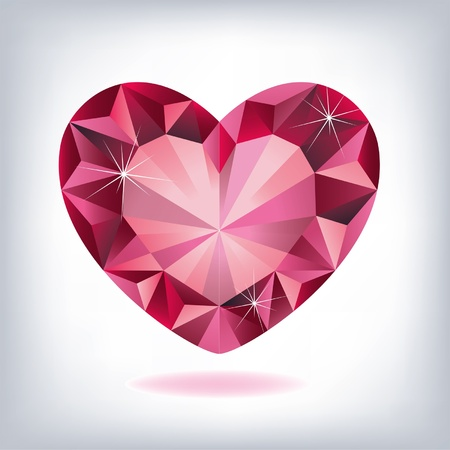 Ruby heart-shaped  Vector