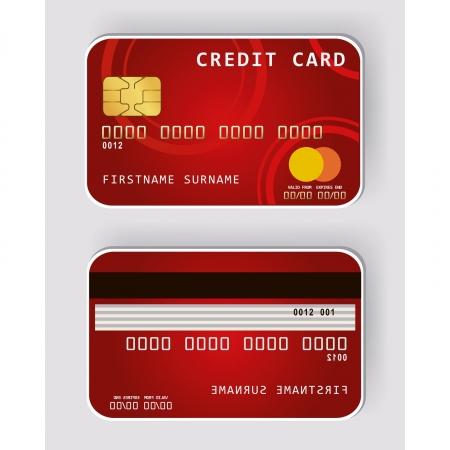 expenses: Tarjeta roja de cr�dito bancario frente a concepto y la vista trasera