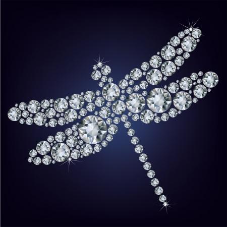 bijoux diamant: R�sum� des animaux Dragonfly constitu� un lot de diamants sur le fond noir Illustration