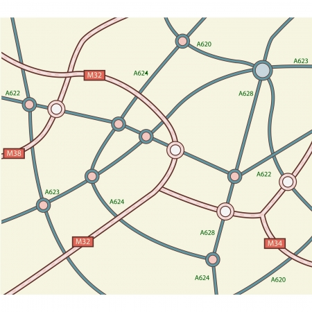 gridlock: Abstract road map Illustration