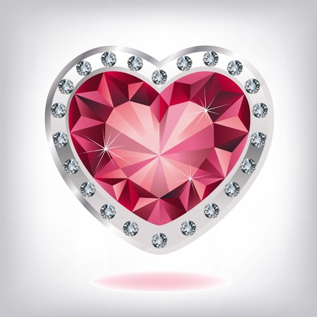 ruby gemstone: Ruby heart in diamonds Illustration