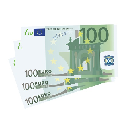 drawing of a 3x 100 Euro bills (isolated)