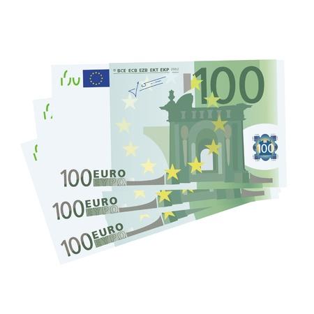 dinero euros: la elaboraci�n de un 3x billetes de 100 euros (aislado)