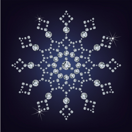 christmas beads: Snowflake made from diamonds.  illustration