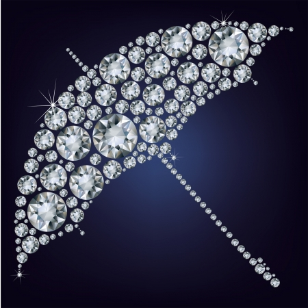Open umbrella made from diamonds