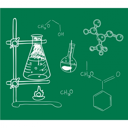 reaction:  Old science and chemistry  laboratory sketches on school board. Illustration