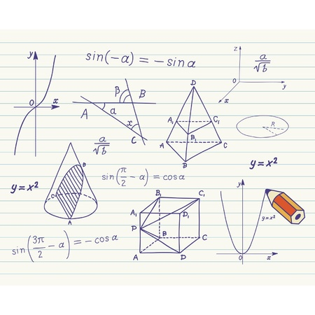 trigonometry: Mathematics -  geometric shapes and expressions  sketches on school board
