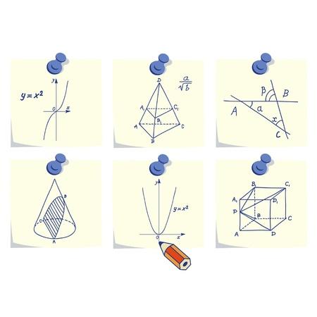 integral: Matem�ticas y geometr�a iconos, Skechers y f�rmulas en los palillos memo amarillo Vectores