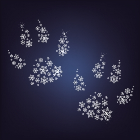 paws made up a lot of snowflakes  on the black background
