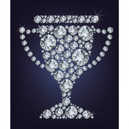 Trophy cup made up a lot of diamonds on the black background Stock Vector - 17293803
